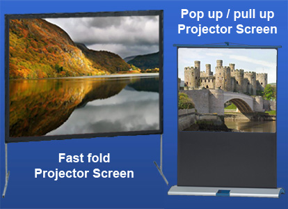 Fast fold projector screens and pull up / pop up projector screens
